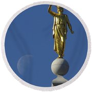 Moroni And The Moon Round Beach Towel