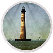 Morris Island Light Vintage Color Uncropped Round Beach Towel