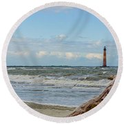Morris Island Light With Driftwood Round Beach Towel