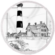 Round Beach Towel featuring the drawing Morris Island Lighthouse by Ira Shander