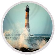 Morris Island Lighthouse Round Beach Towel by Lynne Jenkins