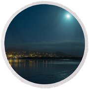 Morro Bay At Night Round Beach Towel