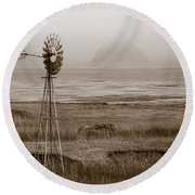 Morro Bay Windmill Round Beach Towel
