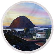 Morro Rock At Night Round Beach Towel