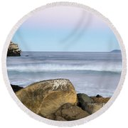 Morro Rock Morning Round Beach Towel