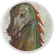 Round Beach Towel featuring the photograph Mosaic Horse by Marcia Socolik