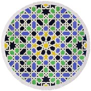 Mosaic Pavement In The Alhambra Round Beach Towel