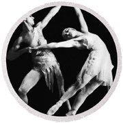 Moscow Opera Ballet Dancers Round Beach Towel by Underwood Archives