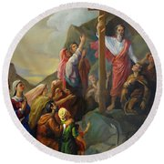 Round Beach Towel featuring the painting Moses And The Brazen Serpent - Biblical Stories by Svitozar Nenyuk