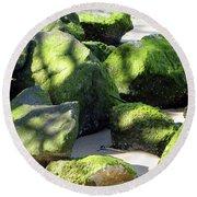 Moss On The Rocks Round Beach Towel