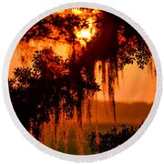 Moss Meets Sun  Round Beach Towel by Mary Ward