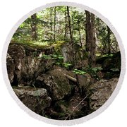 Mossy Rocks In The Forest Round Beach Towel