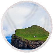 Most Peaceful House In The World Round Beach Towel