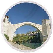 Mostar Bridge In Bosnia Round Beach Towel