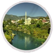 Mostar River And Mosque  Round Beach Towel