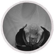 Round Beach Towel featuring the photograph Moth Orchid Bw by Ron White