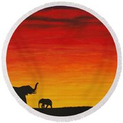 Round Beach Towel featuring the painting Mother Africa 1 by Michael Cross