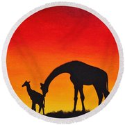Round Beach Towel featuring the painting Mother Africa 2 by Michael Cross