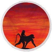 Round Beach Towel featuring the painting Mother Africa 4 by Michael Cross