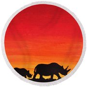 Round Beach Towel featuring the painting Mother Africa 5 by Michael Cross
