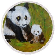 Round Beach Towel featuring the painting Mother And Baby Panda by Jenny Lee