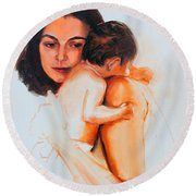 Round Beach Towel featuring the painting Mother And Child by Greta Corens