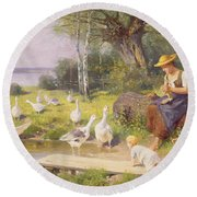 Mother And Child With Geese Round Beach Towel