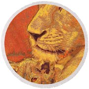 Mother And Cub Round Beach Towel by Jane Schnetlage