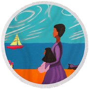 Mother And Daughter Round Beach Towel by Anita Lewis