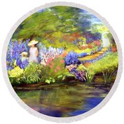 Round Beach Towel featuring the painting Mother And Daughter by Gail Kirtz
