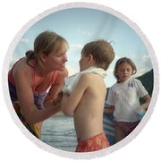 Mother And Kids Swimming, Montana Round Beach Towel