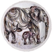 Mother Elephant Round Beach Towel