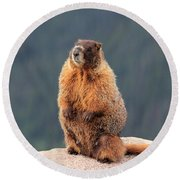 Mother Marmot Round Beach Towel