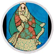 Mother Mary And Baby Jesus Round Beach Towel
