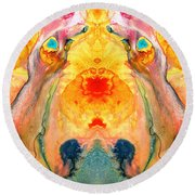 Mother Nature - Abstract Goddess Art By Sharon Cummings Round Beach Towel