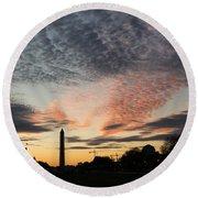 Mother Nature Painted The Sky Over Washington D C Spectacular Round Beach Towel by Georgia Mizuleva