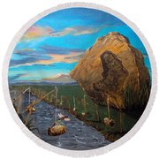 Round Beach Towel featuring the painting Mother Of Anguishes  by Lazaro Hurtado