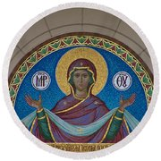 Mother Of God Mosaic Round Beach Towel