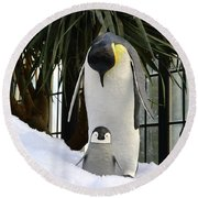 Mother Penguin And Baby Round Beach Towel