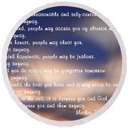 Mother Teresa Of Calcutta Round Beach Towel by Sharon Elliott