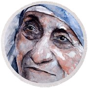Mother Theresa Watercolor Round Beach Towel by Laur Iduc