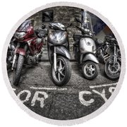 Motor Cycles Round Beach Towel