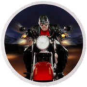 Motorcycle Rider Between Two Semi Trucks Round Beach Towel