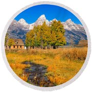 Moulton Homestead Round Beach Towel by Greg Norrell