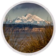 Mount Baker From Port Townsend Round Beach Towel