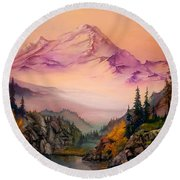 Mount Baker Morning Round Beach Towel