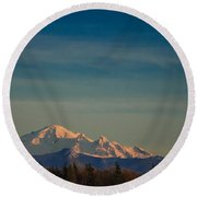 Mount Baker Sunset Round Beach Towel