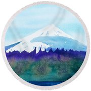 Mount Cleveland Chuginadak Round Beach Towel