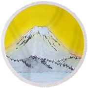 Mount Fuji - Sunrise At Ashinoko Round Beach Towel by Roberto Prusso