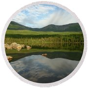 Round Beach Towel featuring the photograph Mount Katahdin by Jeannette Hunt